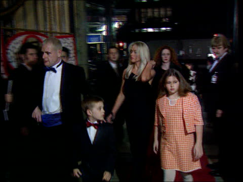 gazza sent off for violent conduct lib london leicester square gascoigne with wife sheryl children along for premiere of disney film '101 dalmatians' - sheryl gascoigne stock videos and b-roll footage