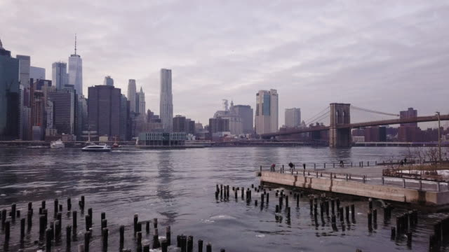 vídeos de stock, filmes e b-roll de ge of new york city's skyline - frente ao mar