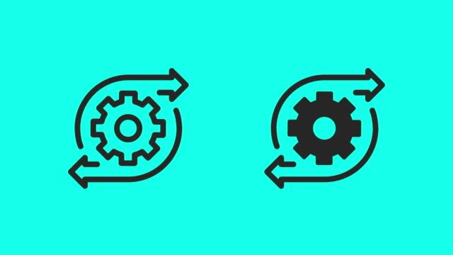 ikoner för växelriktning - vector animate - kugghjul bildbanksvideor och videomaterial från bakom kulisserna