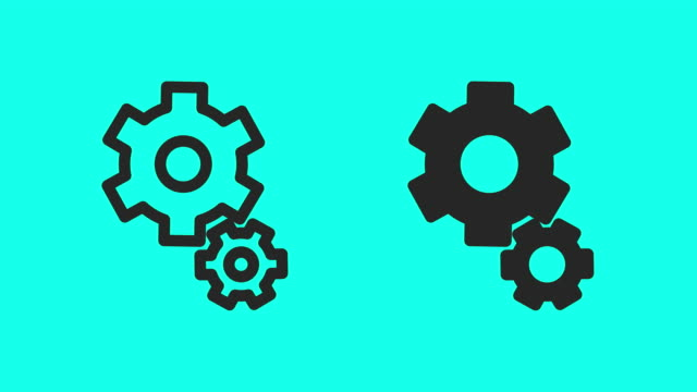 gear icons - vector animate - machine part stock videos & royalty-free footage