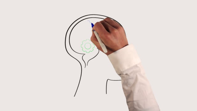 gears in human brain whiteboard animation - concentration stock videos & royalty-free footage