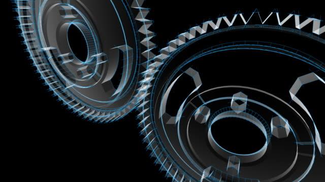 vídeos de stock, filmes e b-roll de gears transformando-wireframe blueprint - dente de engrenagem
