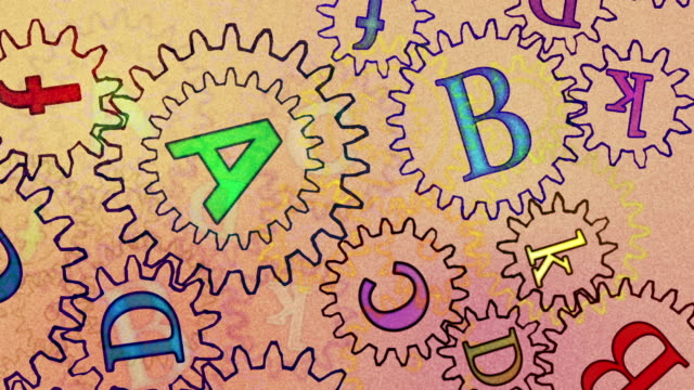 stockvideo's en b-roll-footage met gears with letters, abstract background - sprocket