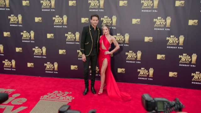 GEazy and Halsey at 2018 MTV Movie TV Awards Arrivals at Barker Hangar on June 16 2018 in Santa Monica California