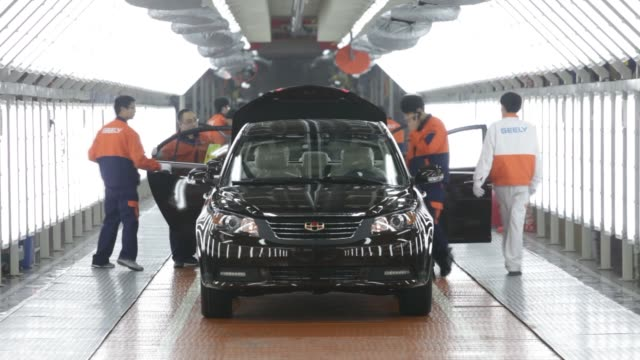 geely automobile manufacturing finished product china economy assembly line auto workers geely auto manufacturing on february 05 2013 in cixi china - zhejiang province stock videos & royalty-free footage