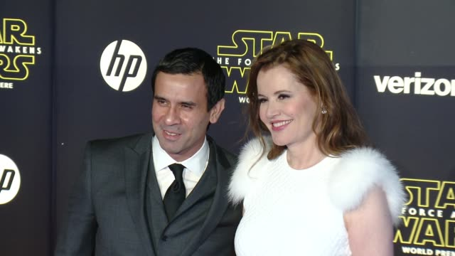 """geena davis and reza jarrahy at the """"star wars: the force awakens"""" world premiere at tcl chinese theatre on december 14, 2015 in hollywood,... - geena davis stock videos & royalty-free footage"""