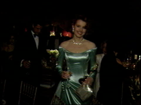 geena davis at the 1989 academy awards ball at the shrine auditorium in los angeles california on march 29 1989 - geena davis stock videos & royalty-free footage