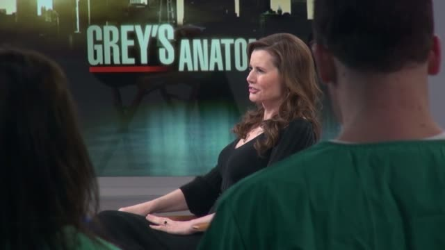 geena davis being interviewed on the good morning america show in celebrity sightings in new york, - ジーナ デイヴィス点の映像素材/bロール