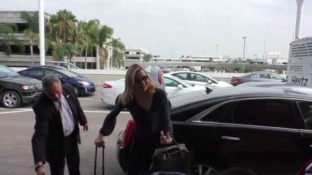 geena davis departing at lax airport in celebrity sightings in los angeles - geena davis stock videos & royalty-free footage