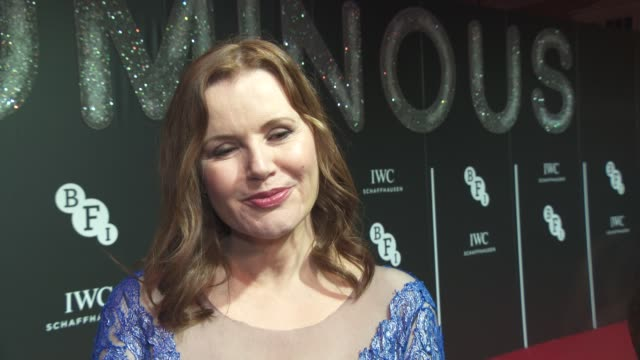 geena davis on women in film at british film institute - luminous fundraising gala at the guildhall on october 06, 2015 in london, england. - ジーナ デイヴィス点の映像素材/bロール