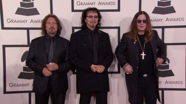 geezer butler ozzy osbourne and tony iommi at 56th annual grammy awards arrivals at staples center on in los angeles california - ozzy osbourne stock videos & royalty-free footage