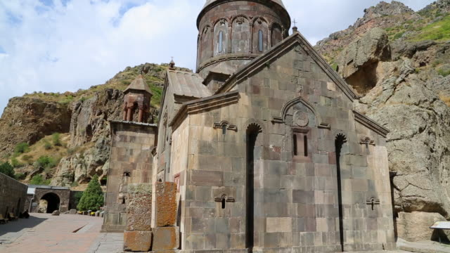 geghard monastery, exterior view of the monastery - 4th century bc stock videos and b-roll footage