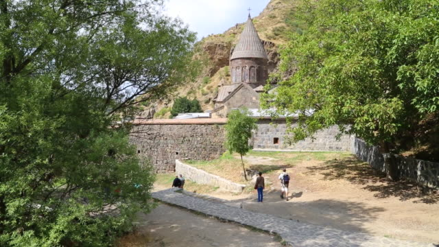 geghard monastery, exterior view of the monastery - circa 4th century stock videos & royalty-free footage