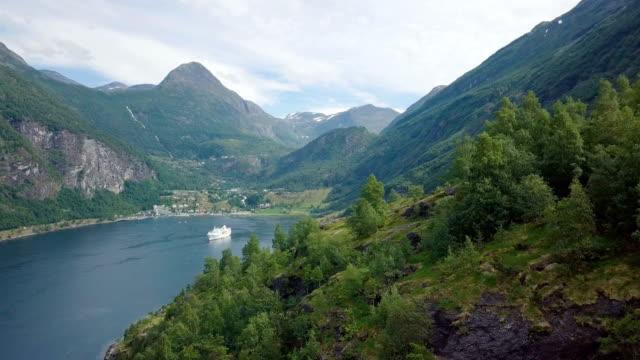 geirangerfjord aerial drone, norway - fjord stock videos & royalty-free footage