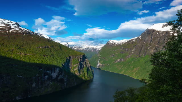 geirangerfjord with the waterfall - sailing ship stock videos & royalty-free footage