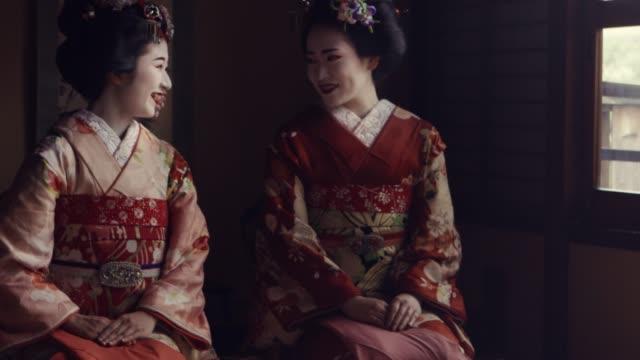 geisha maiko kyoto japan conversation - tradition stock videos & royalty-free footage
