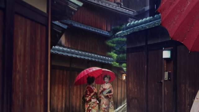 Geisha Maiko Walking Outdoor Gion Animated Photo Slow Motion 4K