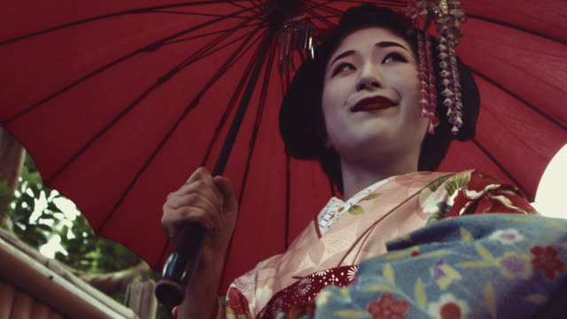 Geisha Maiko Walking Outdoor Slow Motion 4K