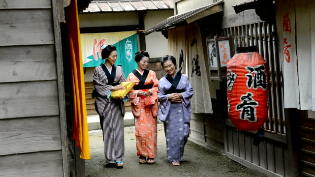 geishas in japanese historic village - tradition stock videos & royalty-free footage
