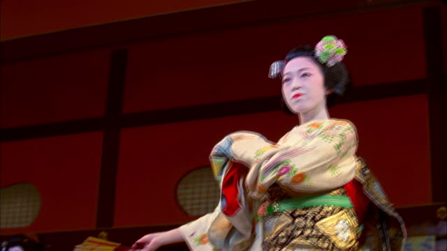 MS LA Geishas performing traditional Four Seasons dance in theater, Kyoto, Japan