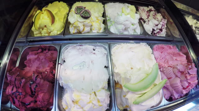 gelato and ice cream close up in europe. - gelato stock videos & royalty-free footage