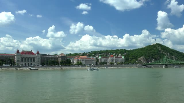 gellert hill - budapest, hungary - liberty bridge budapest stock videos & royalty-free footage