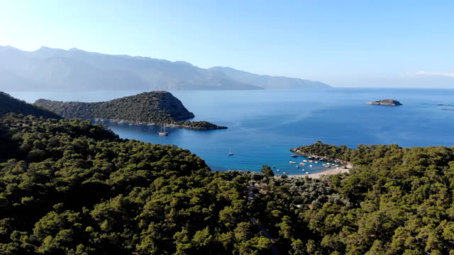 gemile bay from oludeniz. fethiye / turkey. - bay of water stock videos & royalty-free footage