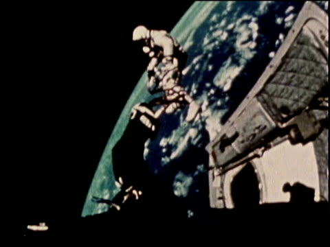 gemini iv astronaut, edward white, makes the first spacewalk in 1965. - spacewalk stock videos & royalty-free footage