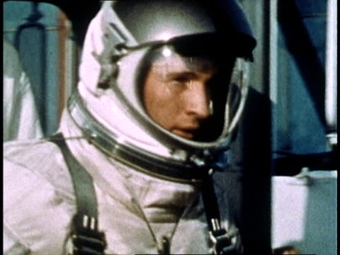 gemini iv crew exiting vehicle upon arrival at launch pad / crew walking into launch pad area / astronauts riding in elevator up to erector white room - gemini 4 stock videos and b-roll footage