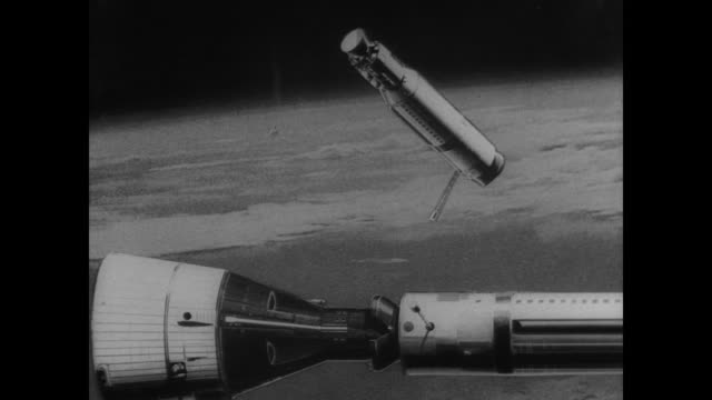 gemini x and agena rockets lock together in space / in space view of attempted rendezvous with agena 8 / agena 8 floating in space / ed white's... - weltraum mission stock-videos und b-roll-filmmaterial