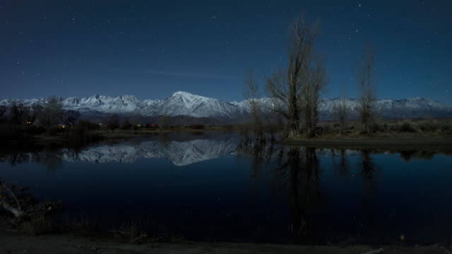 Geminid meteors reflected in a seasonal pond , Eastern Sierra, California, USA