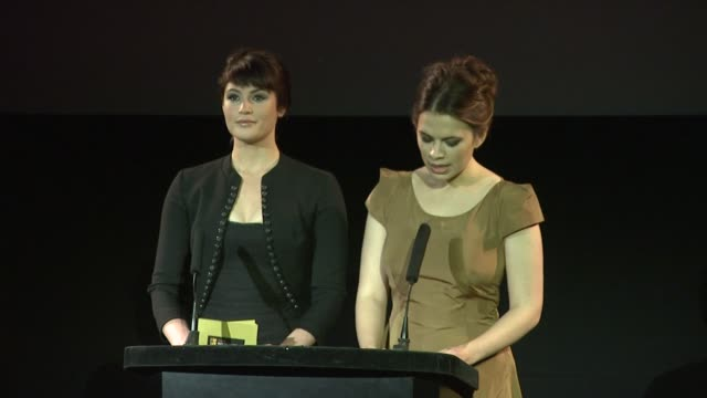 gemma arterton and hayley atwell announce best supporting actor nominations at the uk bafta nominations at london - best supporting actor stock videos & royalty-free footage