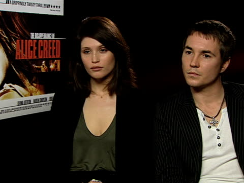 Gemma Arterton and Martin Compston on the thought process efforts and rehearsals at the The Disappearance of Alice Creed Interviews at London England