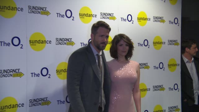 Gemma Arterton and Ryan Reynolds at Sundance London 'The Voices' international premiere at Cineworld 02 Arena on April 26 2014 in London England