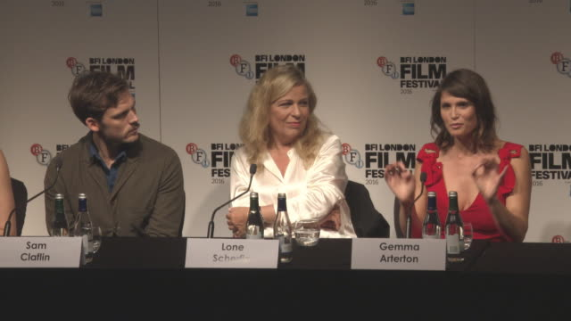 INTERVIEW Gemma Arterton Lone Scherfig and Sam Claflin on writing scripts and making films at LFF 'Their Finest' Press Conference BFI London Film...