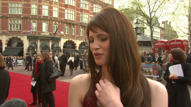 gemma arterton on her accent in the film and being a bond girl at the 'three and out' world charity premiere at odeon leicester square in london on... - bond girl fictional character stock videos & royalty-free footage