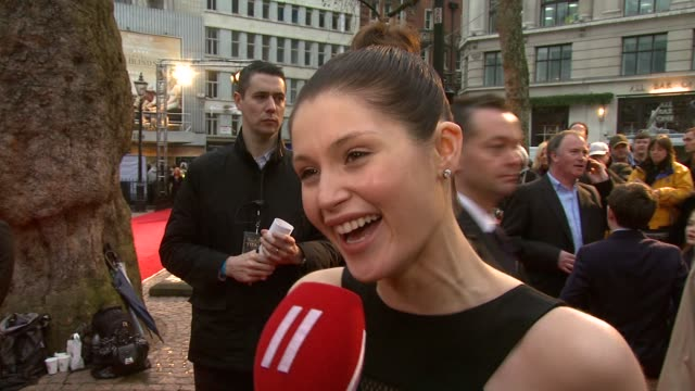 gemma arterton on the clothes on not keeping them on the men's legs on sam's skirt at the the clash of the titans at london england - clash of the titans stock videos & royalty-free footage