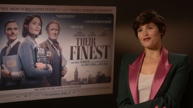 gemma arterton on the difference between fake news and propaganda at at their finest - junket at bfi southbank on april 12, 2017 in london, england. - künstlich stock-videos und b-roll-filmmaterial