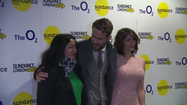 BROLL Gemma Arterton Ryan Reynolds and Marjane Satrapi at Sundance London 'The Voices' international premiere at Cineworld 02 Arena on April 26 2014...
