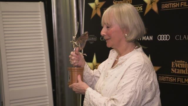 gemma jones on being surprised at winning an award, working with francis lee at evening standard british film awards at claridge's hotel on february... - 映画賞点の映像素材/bロール