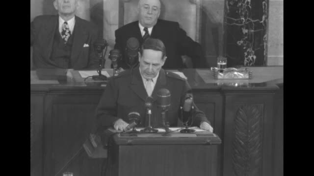 sot gen douglas macarthur as he addresses a joint session of the us congress i called for reinforcements but was informed that reinforcements were... - sam rayburn video stock e b–roll