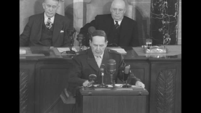 sot gen douglas macarthur as he addresses a joint session of the us congress in war there is no substitute for victory there are some who for varying... - sam rayburn video stock e b–roll