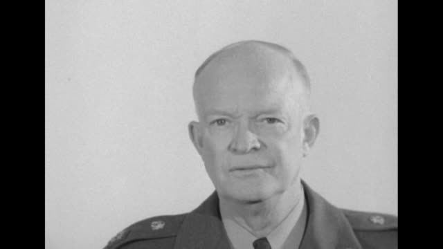 vidéos et rushes de us gen dwight eisenhower commander of allied command operations for nato talking to camera about importance of nato forces / note exact day not known - voix