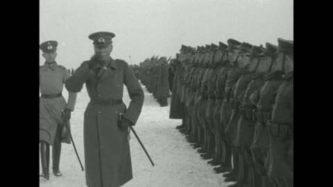 gen. hans von seeckt reviews troops on snowy ground and salutes as they march past / note: exact day not known - weimar stock videos & royalty-free footage