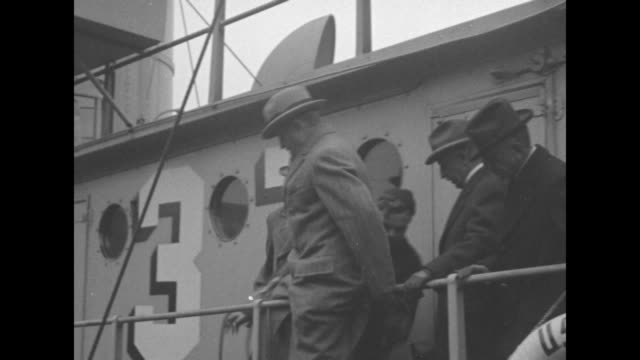 gen john j pershing climbs over the railing of a ship closeup of him with men in the background / note exact month/day not known - john pershing stock videos & royalty-free footage