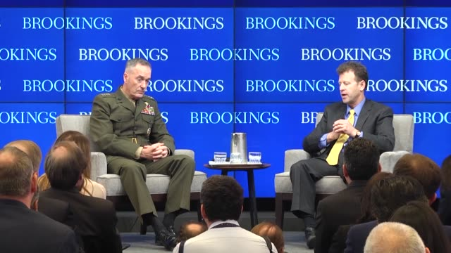 gen joseph dunford chairman of the joint chiefs of staff speaks at the brookings institute on global threats and american national security... - joint chiefs of staff stock videos and b-roll footage