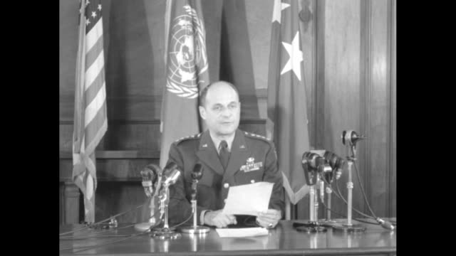 gen matthew ridgway during speech explaining implementation of usjapanese peace treaty … not only to contribute in full measure to the successful... - matthew b. ridgway stock-videos und b-roll-filmmaterial