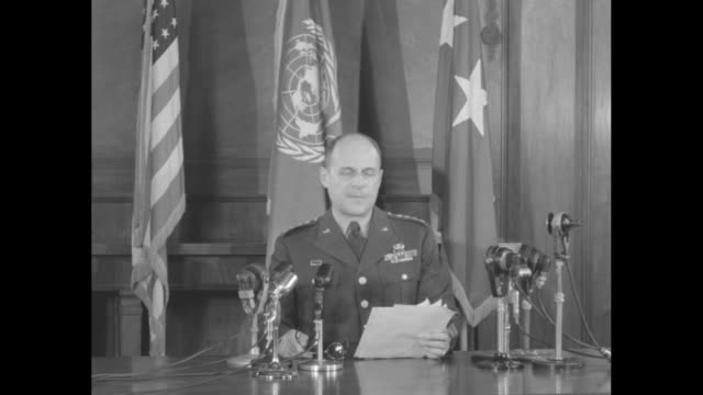 sot gen matthew ridgway notes that on april 28 the peace treaty between japan and the us has gone into effect - matthew b. ridgway stock-videos und b-roll-filmmaterial