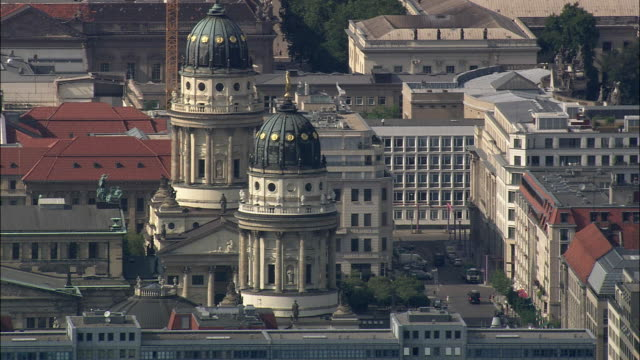 AERIAL Gendarmenmarkt with French and German Cathedrals, Berlin, Brandeburg, Germany