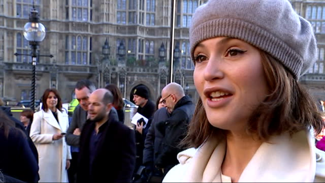gemma arterton joins equal pay protest; jane bruton and gemma arterton interview sot / former factory workers sitting / vox pops / placards on ground... - former stock videos & royalty-free footage